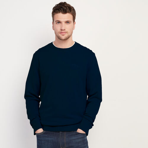 Roots-Men New Arrivals-Roots Organic Crew Sweatshirt-Navy Blazer-A