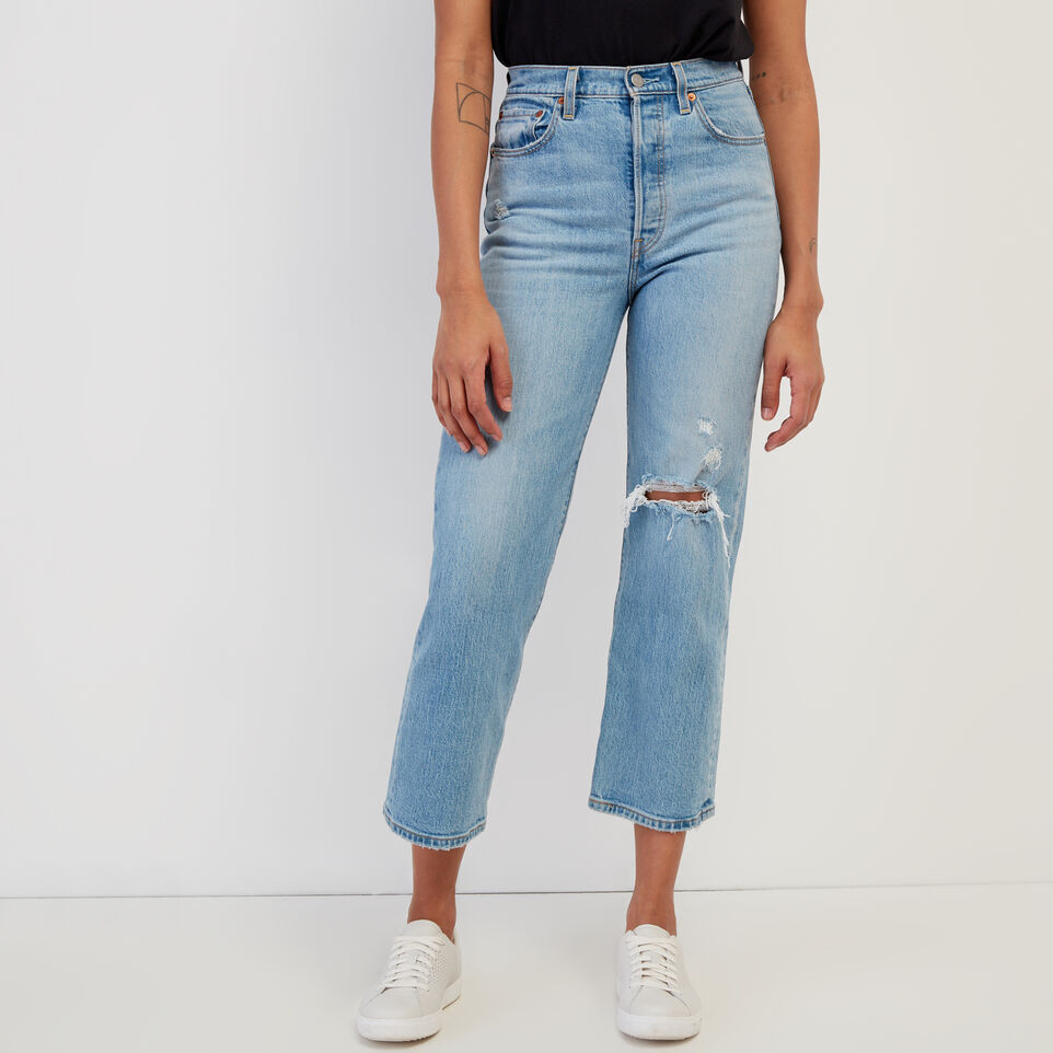 Roots-Women Clothing-Levi's Ribcage Straight Ankle Jean-Med Denim Blue-A