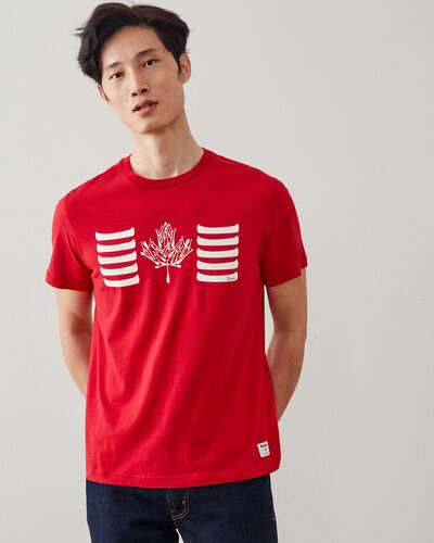 Roots-Men Graphic T-shirts-Mens Paddle Flag T-shirt-Sage Red-A