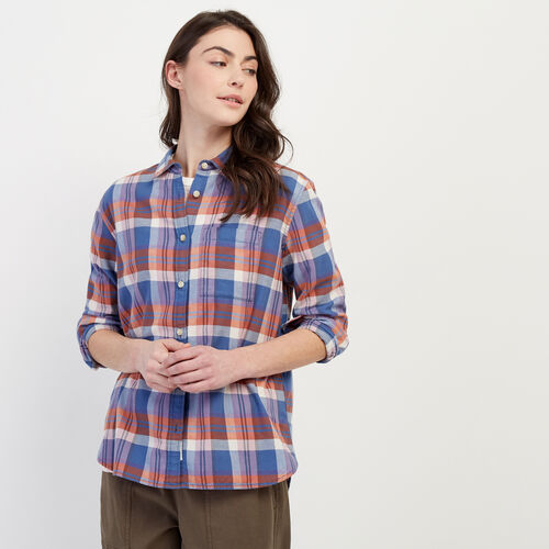 Roots-Women Categories-Trent Plaid Shirt-Celestial Blue-A