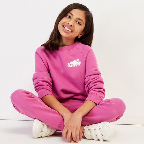 Roots-Kids New Arrivals-Girls Remix Crew Sweatshirt-Purple Orchid-A