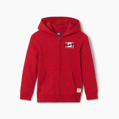 Roots-Sweats Boys-Boys Canada Flag Full Zip Hoody-Sage Red-A