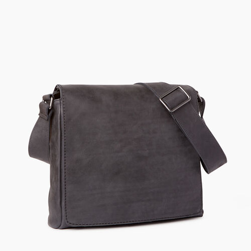 Roots-Cuir Sacs D'affaires-Sac Raiders En Cuir Tribe-Noir De Jais-A