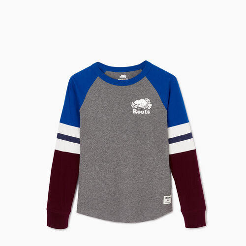 Roots-Kids Our Favourite New Arrivals-Boys Cooper Beaver Raglan T-shirt-Medium Grey Mix-A