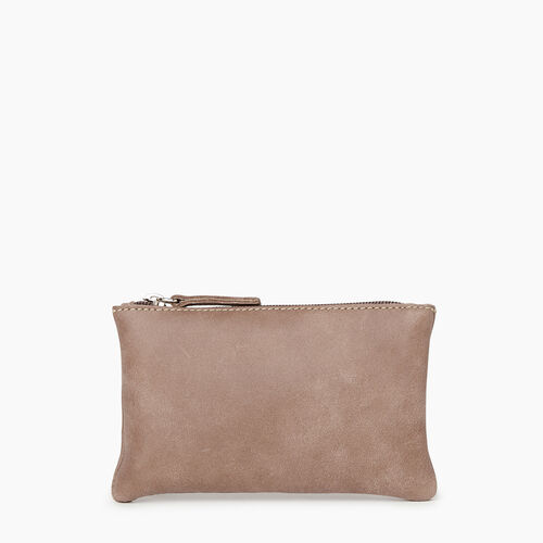 Roots-Women Leather Accessories-Medium Zip Pouch-Fawn-A