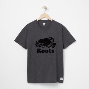 Roots-Men Graphic T-shirts-Mens Cooper Beaver T-shirt-Charcoal Mix-A