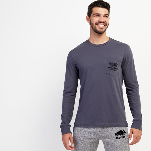 Roots-Men New Arrivals-Mens Heritage Travellers Long Sleeve T-shirt-Ink-A