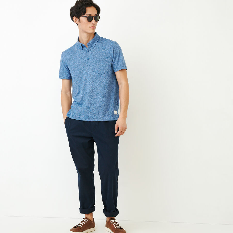 Roots-Men Our Favourite New Arrivals-Jersey Peppered Polo-Active Blue Pepper-B