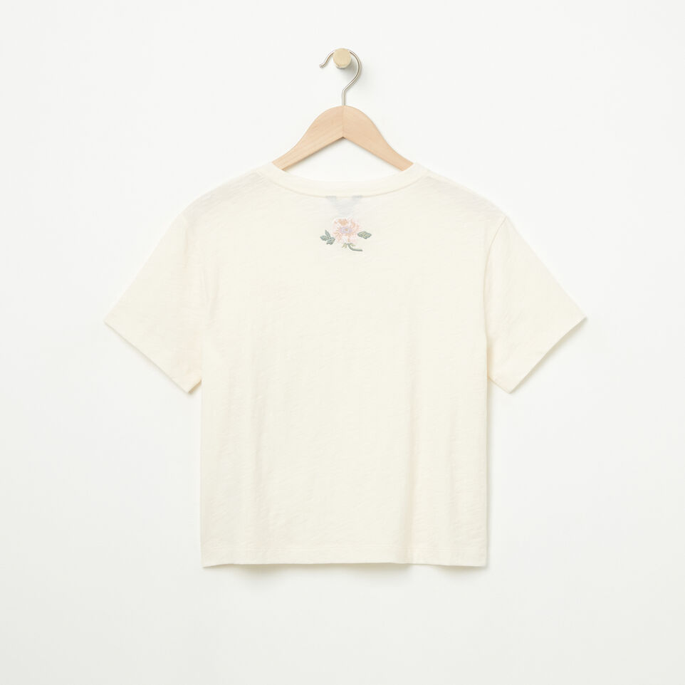 Roots-Clearance Women-Womens Alice Embroidered Crop T-shirt-Pristine White-B