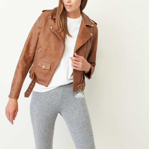 Roots-Women Leather Jackets-Moto Jacket Tribe-Natural-A