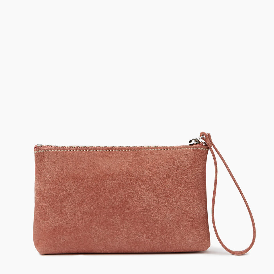 Roots-Leather Our Favourite New Arrivals-Wristlet Pouch-Canyon Rose-C