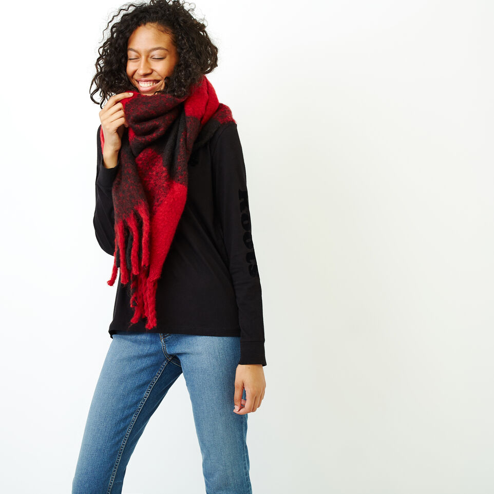 Roots-Women Scarves & Wraps-Park Plaid Fluff Scarf-Red-A