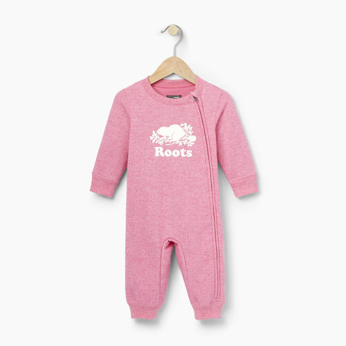 Roots-New For August Baby-Baby Original Cooper Beaver Romper-Azalea Pink Pepper-A