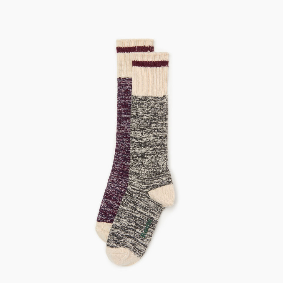 Roots-Women Clothing-Cotton Cabin Sock 2 pack-Purple-B