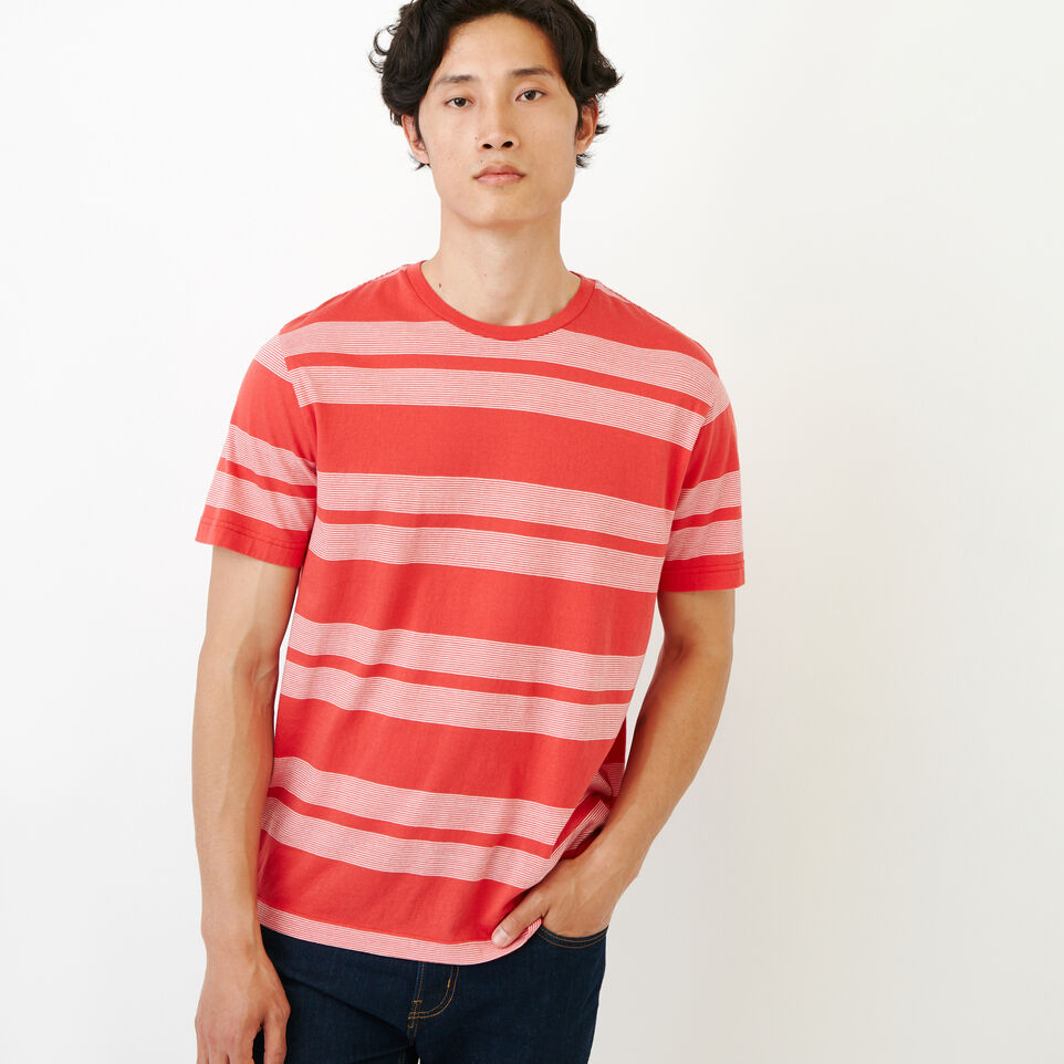 Roots-New For August Men-Mercer Striped T-shirt-Chrysanthemum-A