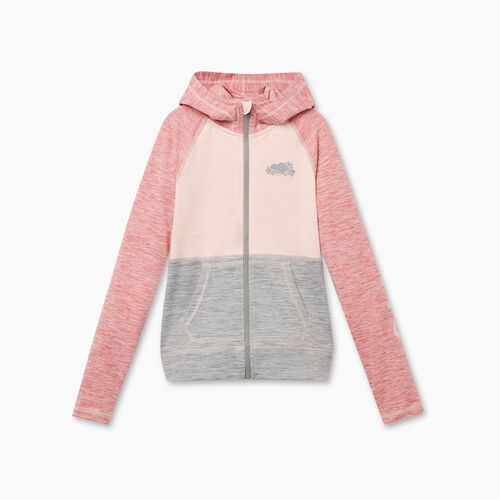 Roots-Kids Bestsellers-Girls Lola Active Full Zip Hoody-Sunset Apricot Mix-A