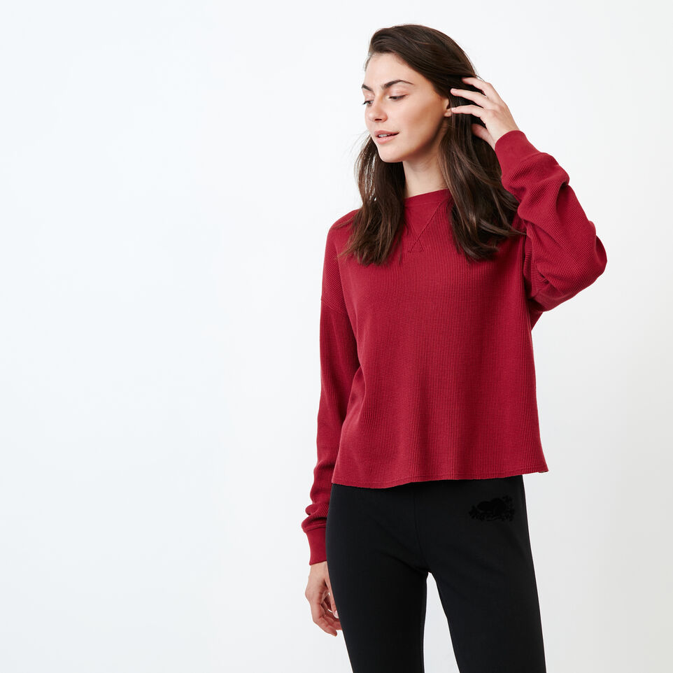 Roots-Women Clothing-Kinuso Waffle Top-Tibetan Red-A