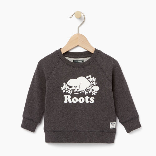 Roots-Clearance Baby-Baby Original Crewneck Sweatshirt-Charcoal Mix-A