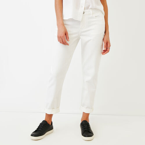 Roots-Women Bottoms-Aiden Boyfriend Jean-White-A