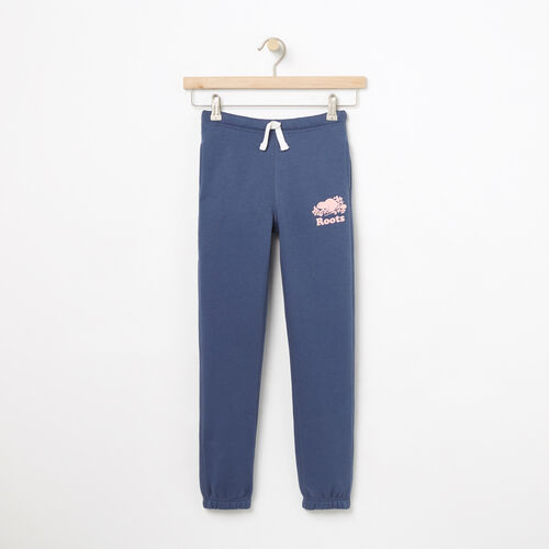 Roots-Kids Bottoms-Girls Slim Roots Sweatpant-Force Blue-A