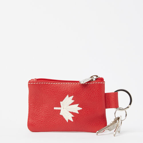 Roots-New For May Leather-Maple Leaf Top Zip Pouch Prince-Canadian Red-A