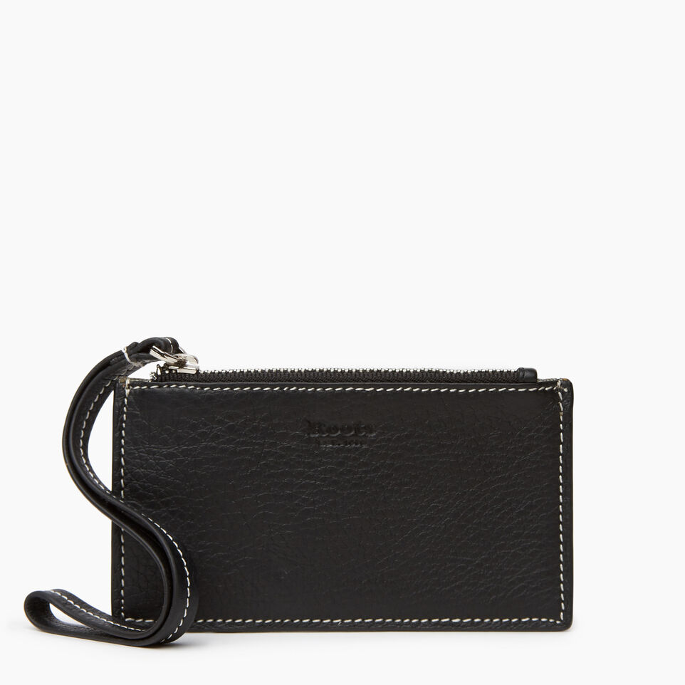 Roots-Leather Small Leather Goods-Medium Card Wristlet-Black-A