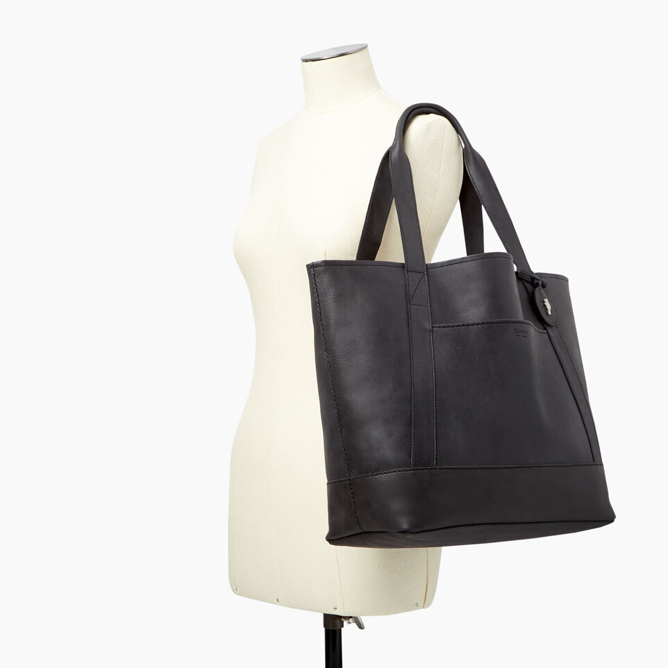 Roots-Leather  Handcrafted By Us Handbags-Muskoka Tote-Jet Black-B