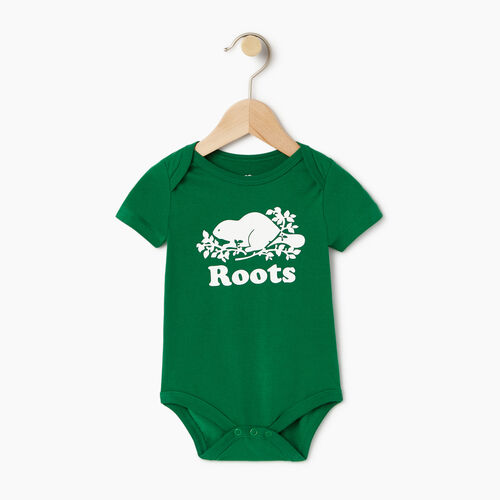 Roots-Clearance Kids-Baby Cooper Beaver Bodysuit-Verdant Green-A