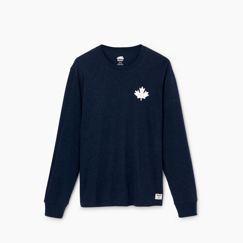 Roots-Clearance Tops-Mens Cooper Leaf Long Sleeve T-shirt-Navy Blazer Mix-A