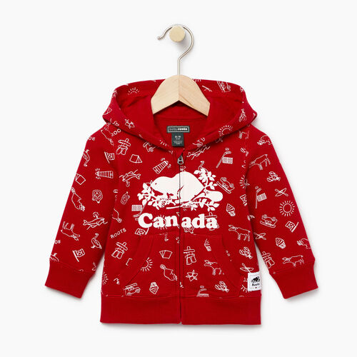 Roots-Clearance Kids-Baby Canada Aop Full Zip Hoody-Sage Red-A