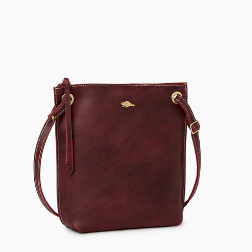 Roots-Leather Crossbody-Festival Bag Tribe-Crimson-A