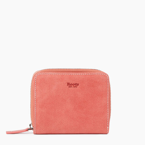 Roots-Leather New Arrivals-Small Zip Wallet Tribe-Coral-A