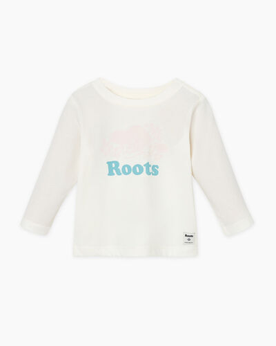 Roots-Sale Baby-Baby Original Cooper Beaver T-shirt-Egret-A