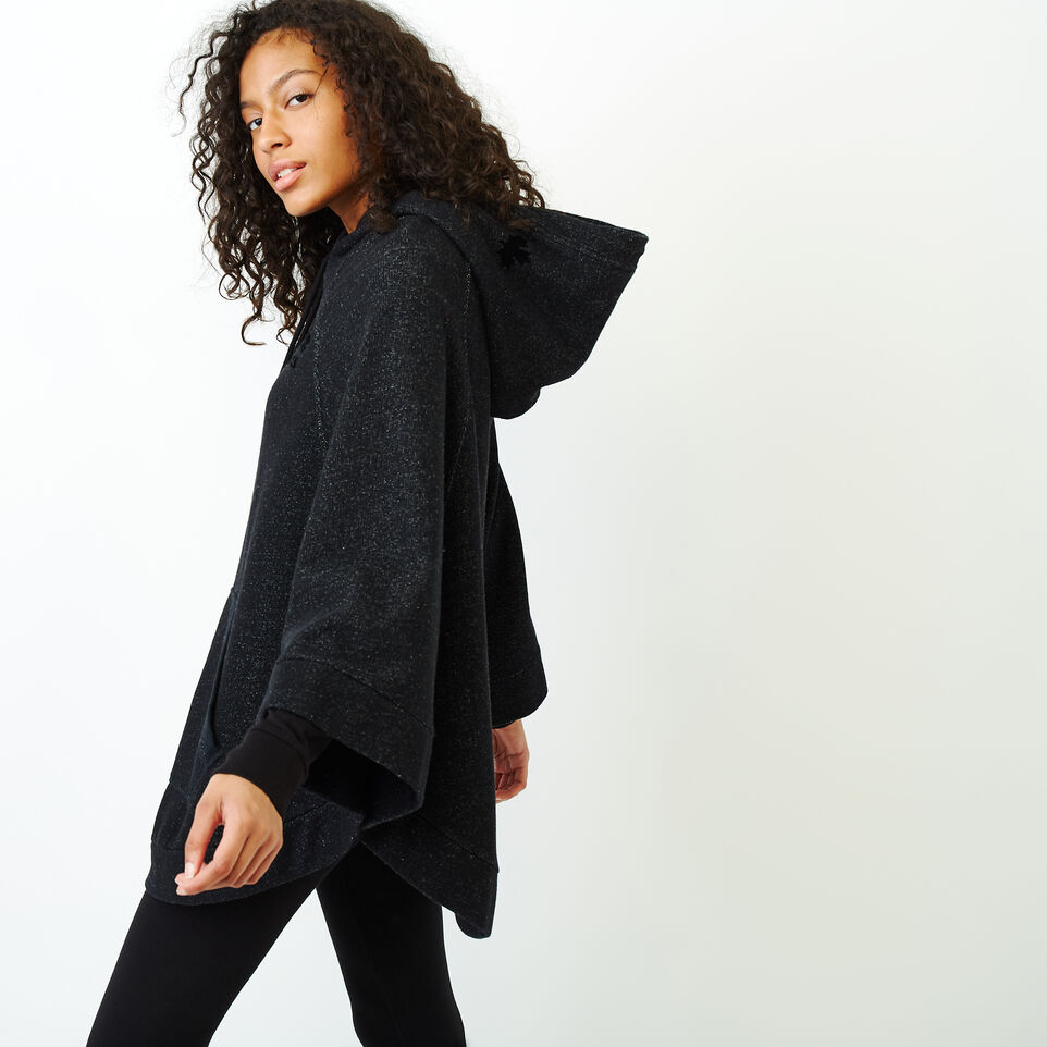 Roots-Women Categories-Fleece Poncho-Black Pepper-C
