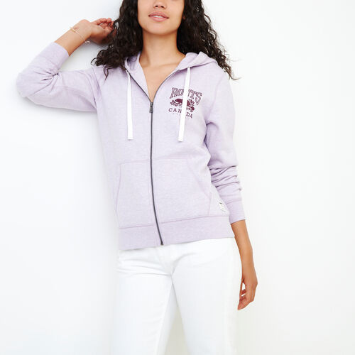Roots-Women Sweatshirts & Hoodies-Classic Full Zip Hoody-Lupine Mix-A