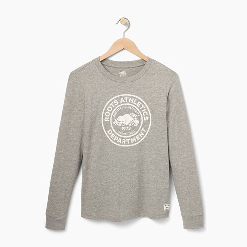 Roots-Women Graphic T-shirts-Womens Roots Department Long Sleeve-Grey Mix-A