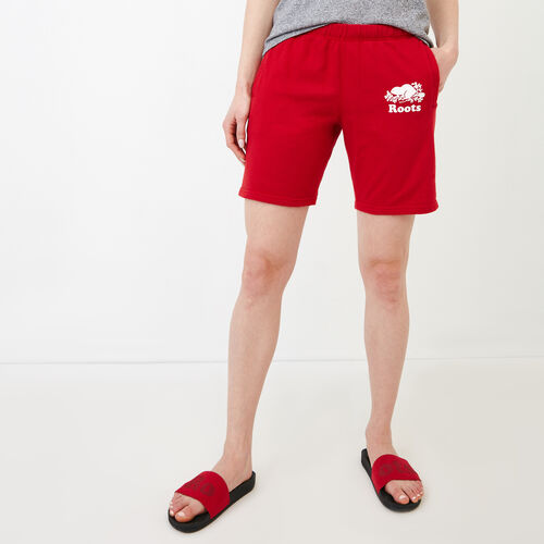 Roots-Women Categories-Original Longer Sweatshort-Sage Red-A