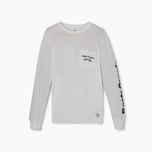 Roots-Men New Arrivals-Mens Canoe Club Long Sleeve  T-shirt-Crisp White-A