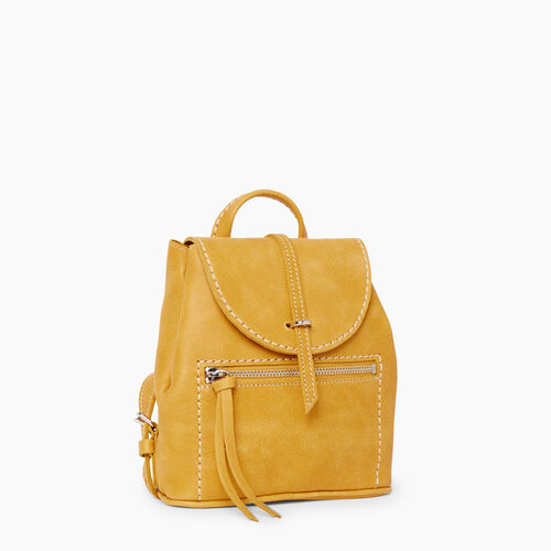Roots-Leather Backpacks-Alex Anne Pack Tribe-Squash Yellow-A