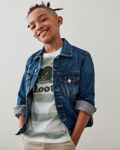 Roots-Kids T-shirts-Boys Cooper Beaver T-shirt-Washed Olive-A