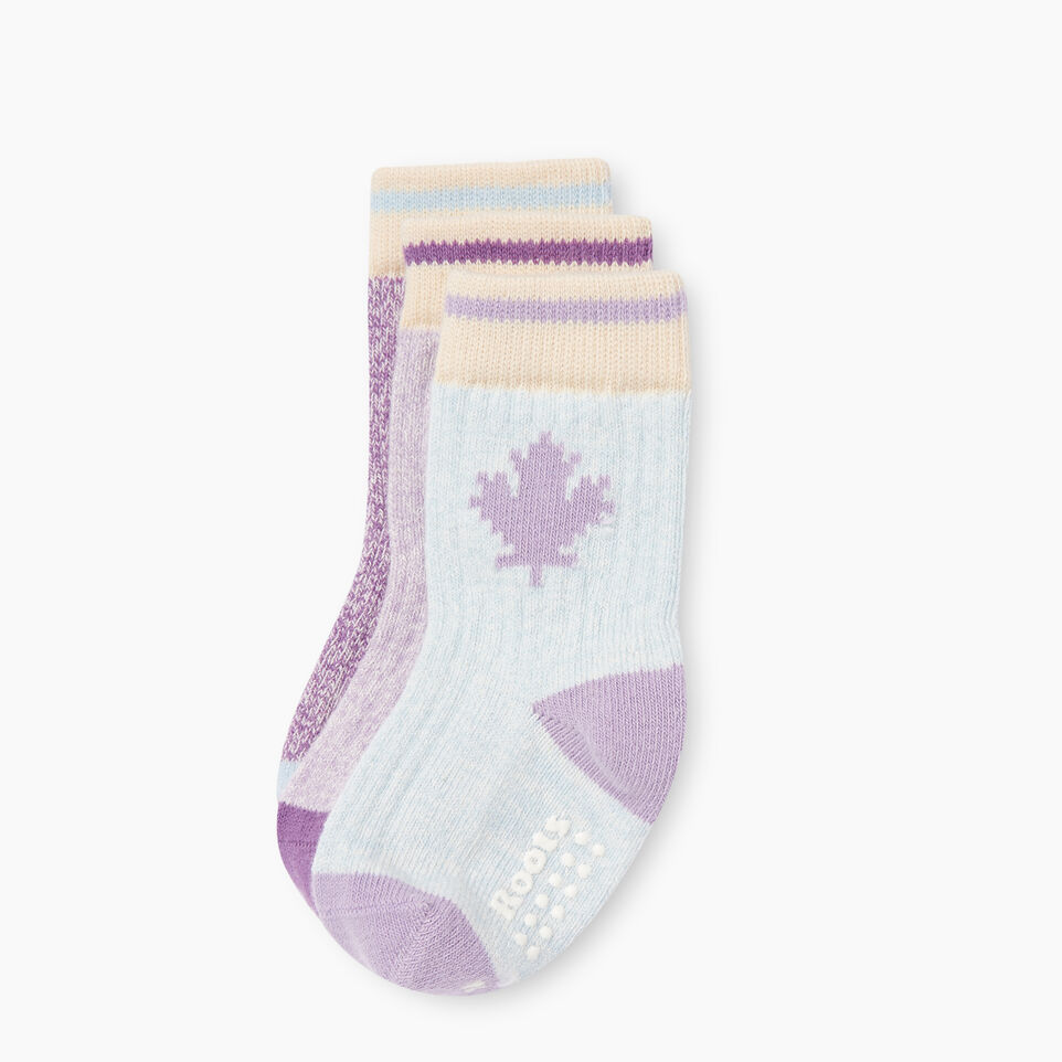 Roots-Kids New Arrivals-Toddler Maple Sock 3 Pack-Purple-A