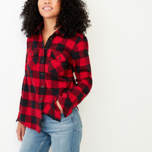 Roots-Women Shirts-Park Plaid Shirt-Lodge Red-A
