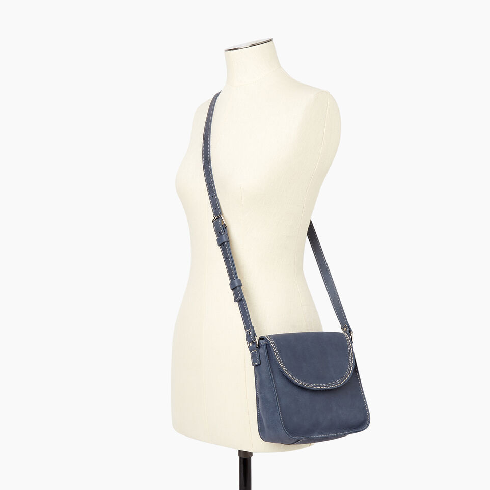 Roots-Leather New Arrivals-Canmore Crossbody Tribe-Navy-B