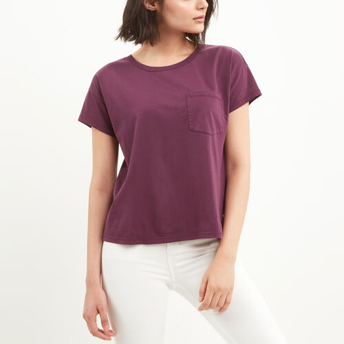 Roots-Women Tops-Boyfriend Pocket T-shirt-Grape Wine-A