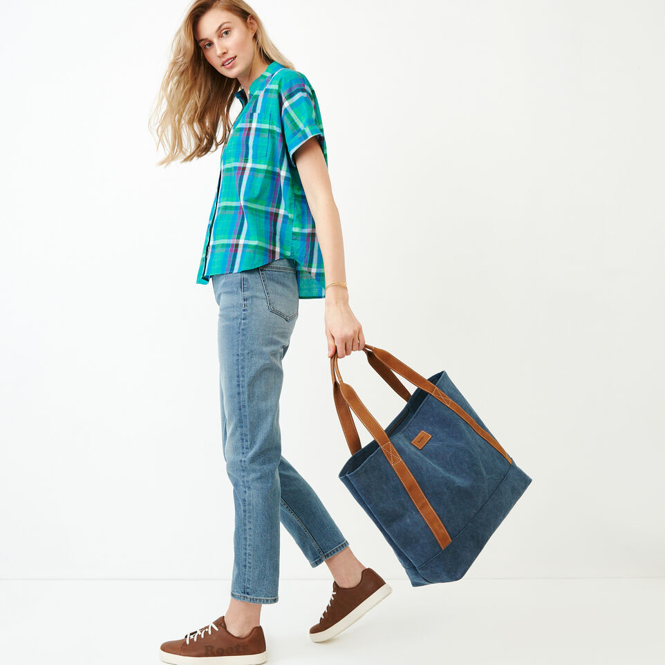 Roots-Women Categories-Alder Flat Madras Shirt-Sea Green-B