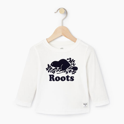 Roots-Kids Baby-Baby Original Cooper Beaver T-shirt-Cloudy White-A