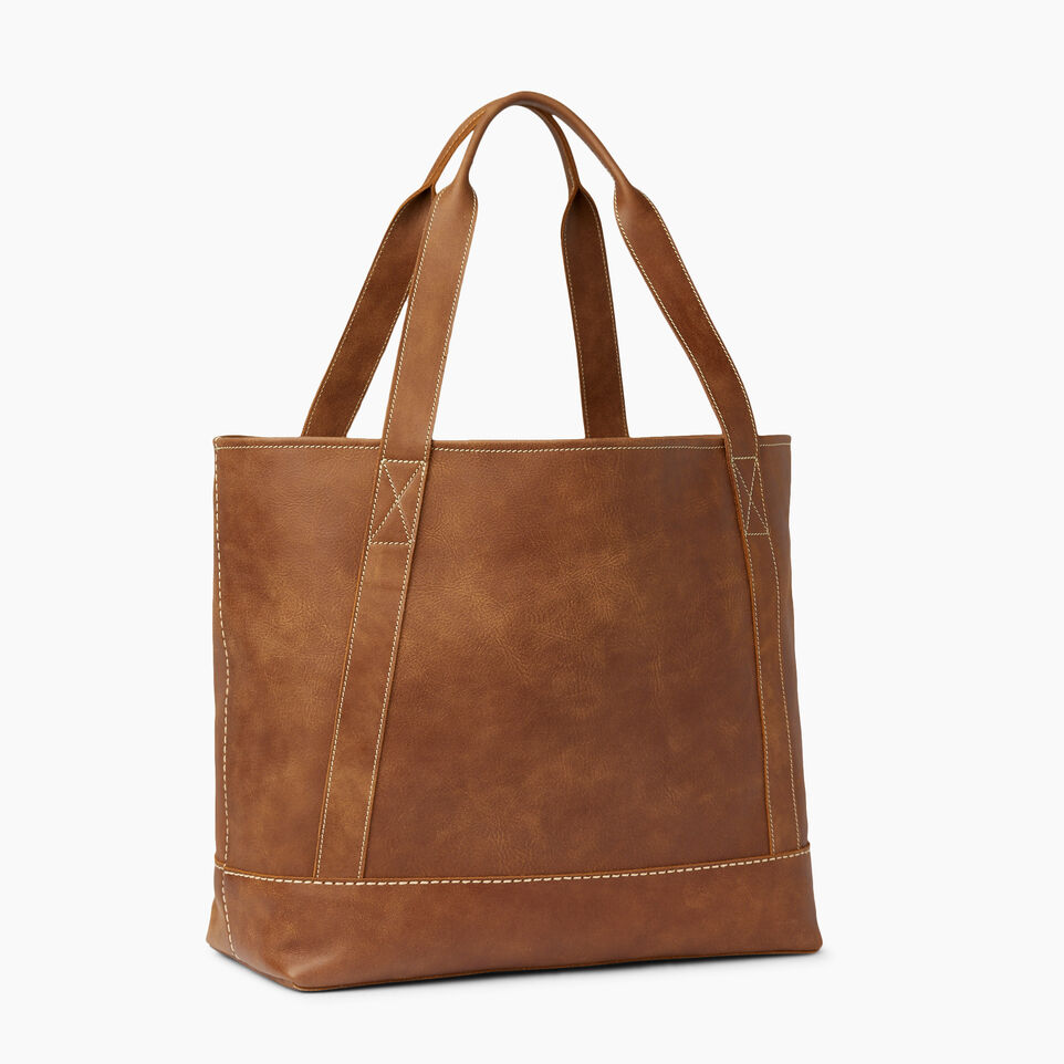 Roots-Leather  Handcrafted By Us Handbags-Muskoka Tote-Natural-C