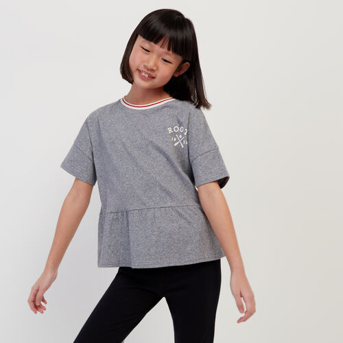 Roots-Kids New Arrivals-Girls Cabin Peplum Top-Light Salt & Pepper-A