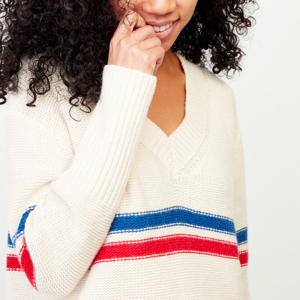 Roots-Women Our Favourite New Arrivals-Westwood V Neck Sweater-Light Fog-D