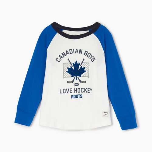 Roots-Kids Tops-Toddler Boys Love Hockey T-shirt-Prince Blue-A